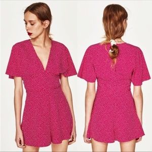 NWOT Zara Trafaluc Hot Pink Polka Dot Romper